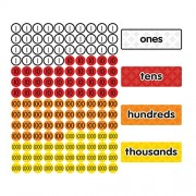 Dowling Magnets Magnet Math Magnetic Place Value Disks & Headings (Grades 1-3)
