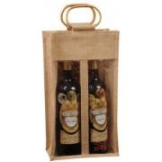 Jutová taška na 2 vína s okénky