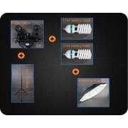 Zestaw oświetleniowy + parasol czarno-biały 2x600W 230cm Z94
