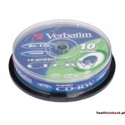 Verbatim CD-RW 80min 8-12X Hi-Speed Spindle Pk 10