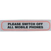 Diseño con texto en inglés, switch off teléfonos móviles metálico cepillado diseño de material autoadhesivo ideal para casa, puerta, s caravan, coche, barco, etc