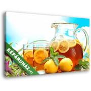 Teáskancsó és két pohár tea, citrommal és mentával (40x25 cm, Vászonkép )