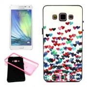 Colorful Loving Heart Pattern Plain Weave Texture Synthal Plastic Combination Case for Samsung Galaxy A5 / A500F
