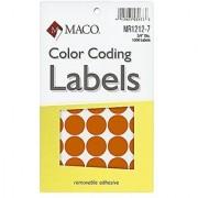 MACO Orange Round Color Coding Labels 3/4 Inches in Diameter 1000 Per Box (MR1212-7)