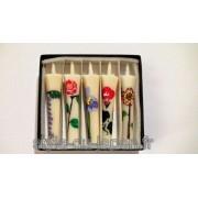 Set de 5 bougies japonaises peintes à la main avec des motifs de fleurs