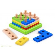 VolksRose Creative Wooden Color and Shape Geometric Sorting Board - Stack & Sort Puzzle Toys for Child 3 Year...
