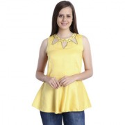 INSPIRE WORLD Women's 100 Pure Cotton Linen Satin Peplum Top In Yellow Color With Skin Friendly Lining And Crystal Neck Line (IWT0012016S)