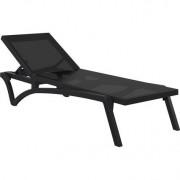 Chaise longue negro y antracita CORAIL - Miliboo