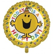 "Mr Men Mr Happy - 'Today is a Happy Day!' Birthday Foil Helium Balloon 45cm 18"" Round"