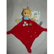 Doudou Ours Winnie Disney Baby The Pooh Rouge Et Bleu Abc Etoiles Peluche Bebe Nicotoy