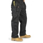 Lee Cooper Workwear Men's Cargo Regular Work Trouser - Black, 42W