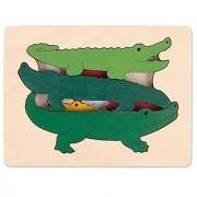 Hape George Luck Crocodiles Wood Puzzle (6 Piece)