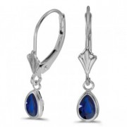 Pear Blue Sapphire Drop Dangling Earrings 14k White Gold (0.90ct)