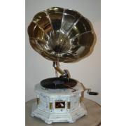 "GRAMMOFONO OTTAGONALE SHABBY colonne ottone ""Tromba Silver"""