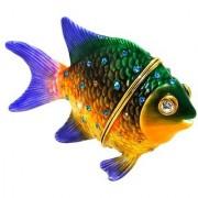 Objet DArt Release #333 Pacific Jewel Damselfish Tropical Fish Handmade Jeweled Enameled Metal Trinket Box