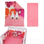Babaágynemű garnitúra Joy toTs-smarTrike nyuszis takaró, lepedő és fejvédő 100% pamut szatén rózsaszín