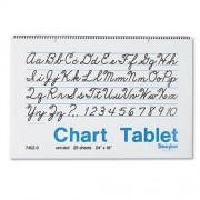 Chart Tablets, Unruled, 24 x 16, White, 25 Sheets/Pad