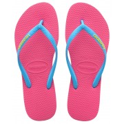 havaianas Slim Logo Flips Women Orchid Rose/Turquoise 41/42 Zehentrenner
