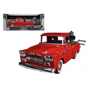 Motormax 75343R 1958 Chevrolet Apache Fleetside Pickup Tow Truck Red 1-24 Diecast Model Car