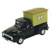 1956 Ford F-100 Pickup Truck Black with Camper 1/32 by Signature Models 32395