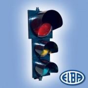 Közlekedési jelzőlámpa 3SC1TL piros/sárga/zöld, polikarbonát test, ellenző nélkül d=300mm és d=200mm izzóval IP56 Elba