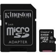Карта Памет Kingston microSDXC 64GB, Class 10 UHS-I с адаптер SD, KIN-SDC10G2/64GB