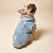 River Island Womens RI Dog light Blue denim hoodie