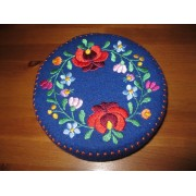 Hand embroidered Matyo Kalocsa trinket, Hungarian jewelry box - blue