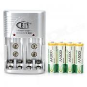 BTY 802 EE.UU. Plug 4 ranuras AA / AAA / 6F22 Cargador de bateria w / 4 pilas AA - Blanco + Verde + plata