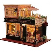Rylai Wooden Handmade Dollhouse Miniature DIY Kit - Romantic Cafe Series Wooden Dollhouses & Furniture/Parts(1:24 Scale Dollhouse)