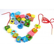 75 Multicolor Wooden Digital Shape Blocks String-Along Educational Toy for Kids Ages 3+ Years