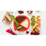 Lékué csoki fondue készítő szett, fehér-piros színben