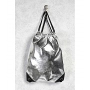 Forever21 Faux Leather Drawstring Backpack Silver
