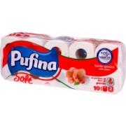 Hartie igienica, 2 straturi, 10 role/set, PUFINA Flori de piersic