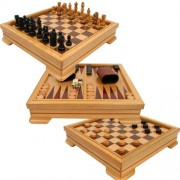 Deluxe 7-in-1 Game Set - Chess, Checkers, Backgammon and More, Brown by Trademark Games