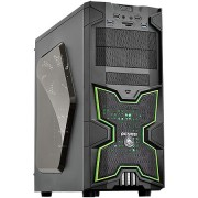 Gabinete Mid Tower Fox Verde s/ Fonte c/ 1 cooler Led Frontal e Traseiro - PCYES