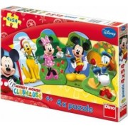 Puzzle 4 in 1 - Clubul lui Mickey Mouse 54 piese