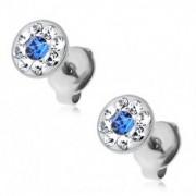 Fülbevaló 316L acélból kék és átlátszó Swarovski kristályokkal, stekkerek