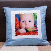 Fényképes kispárna - kék