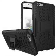 Kaira Hard Armor Hybrid Rubber Bumper Flip Stand Rugged Back Case Cover for Oppo A57 (Black)
