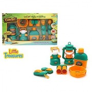 Complete Camping toy set from Little Treasures pretend play camp set includes a toy oil lamp toy utility knife and spoon set toy gas stove and pan and a toy bottle with cup.