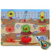 Puzzled Peg Puzzle Large- Garden Wooden Toys by Puzzled, Inc.