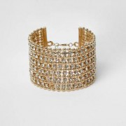 River Island Womens Gold tone bead and diamante cuff bracelet