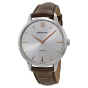 Montblanc Automatic Silver Dial Brown Leather Mens Watch 110695