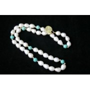 """17"""" 8Mm White Drop 14Ct Gold Pearl Necklace & Turquise"""