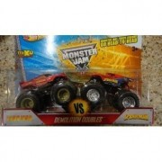 HOT WHEELS 2013 RELEASE DEMOLITION DOUBLES IRON MAN VS SPIDER-MAN MONSTER JAM SET, HOT WHEELS SPIDER-MAN VS IRON MAN MONSTER TRUCK SET by Monster Jam