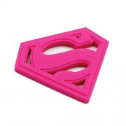 DC Comics Superman Pink Silicone Hand Held Baby Teether
