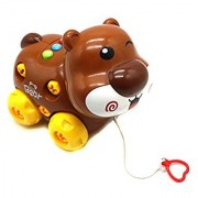 Ver-Baby Childrens Kids Walk Along Musical Bear On Wheels Pull Toy Playset Thats Ready for Playtime Build and Play Toy S