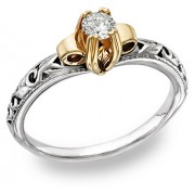 Art Deco 1 Carat CZ Ring, 14K Two-Tone Gold
