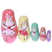 xlpace 5pcs/Set Russian Matryoshka Doll Nesting Dolls Wooden Dancing Princess Girls Toys Home Decor Handmade Crafts Birthday Christmas Gifts 6.69''